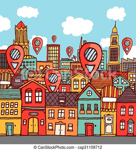 Marker locations over colorful city - csp31109712