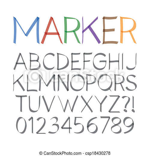Marker Pen Font and Numbers - csp18430278