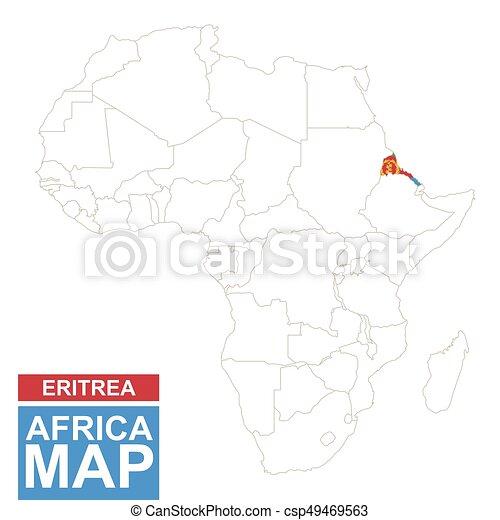 Markerad Karta Afrika Eritrea Contoured Karta Illustration