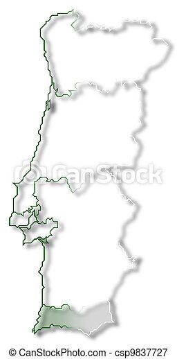 Portugal Algarve Karta.Markerad Karta Algarve Portugal Karta Portugal Politisk