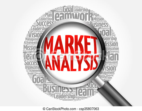 Market Analysis Word Cloud With Magnifying Glass Business  Stock