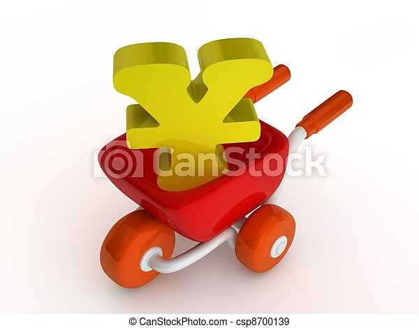 Market cart with china money sign - csp8700139