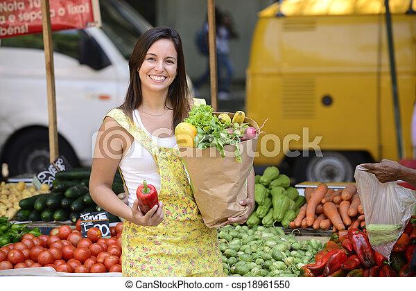 market., compras de mujer, calle, abierto - csp18961550