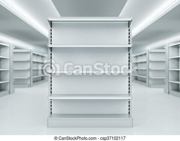 Market estantes metal interpretacin limpio 3d Market