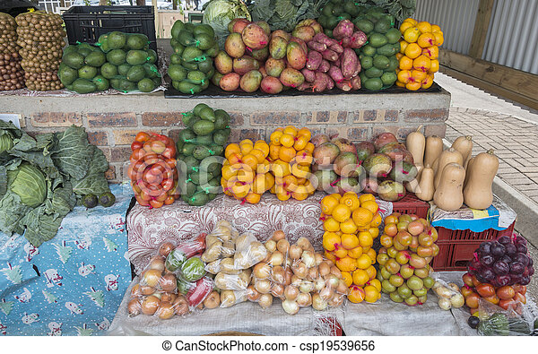 market stall with fresh fruit in african city hazeview - csp19539656