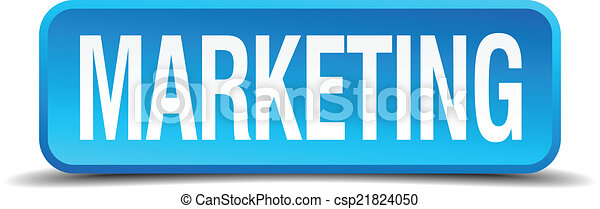 Marketing blue 3d realistic square isolated button - csp21824050