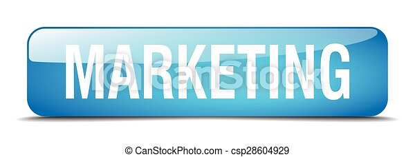marketing blue square 3d realistic isolated web button - csp28604929