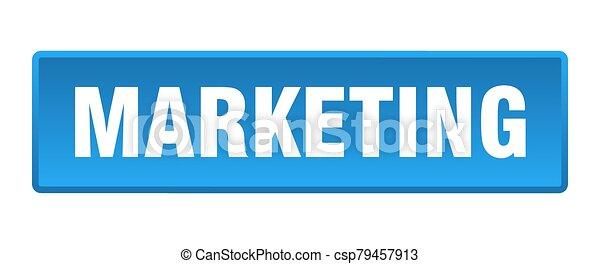 marketing button. marketing square blue push button - csp79457913