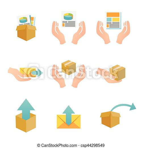 Marketing Company Digital Products Icons with Collateral and Packing Box - csp44298549