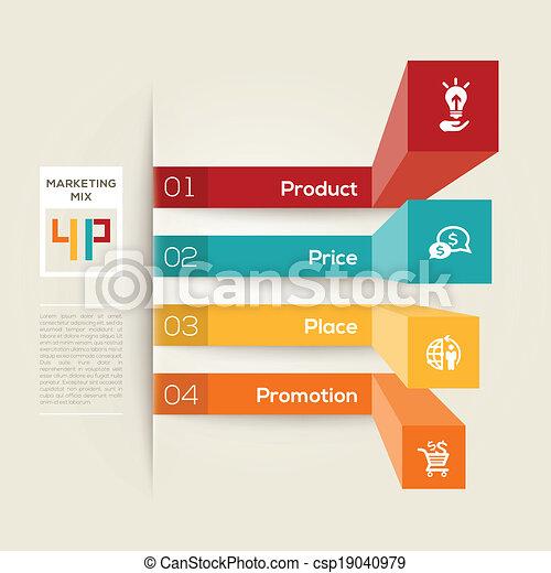 marketing, conceito, 4p, ilustração negócio - csp19040979