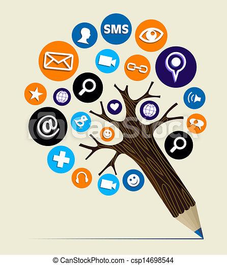marketing, concept, boompje, web, potlood - csp14698544