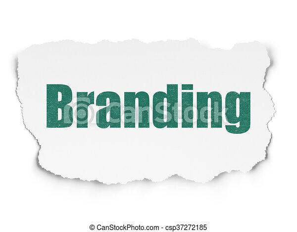 Marketing concept: Branding on Torn Paper background - csp37272185