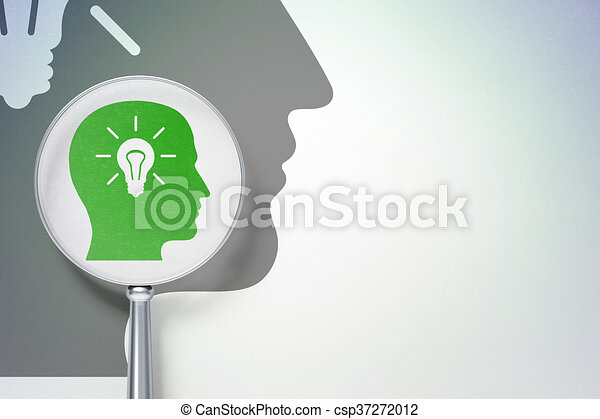 Marketing concept: Head With Light Bulb with optical glass on digital background - csp37272012