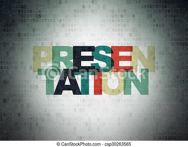 Marketing concept: Presentation on Digital Paper background - csp30263565