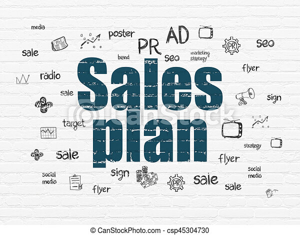 Marketing Concept Sales Plan On Wall Background Marketing