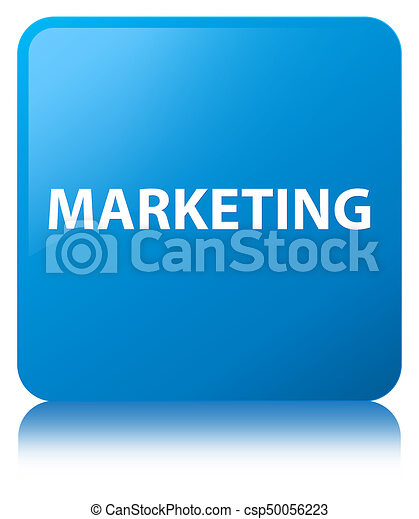 Marketing cyan blue square button - csp50056223
