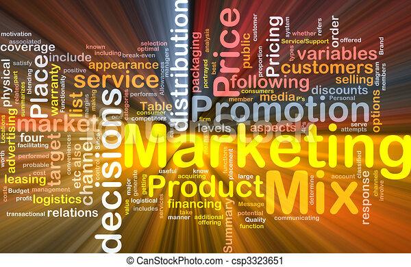 Marketing-Mix-Hintergrundkonzept leuchtend - csp3323651
