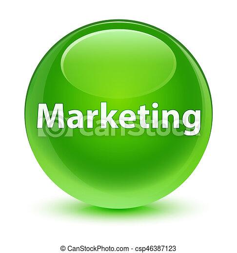 Marketing glassy green round button - csp46387123