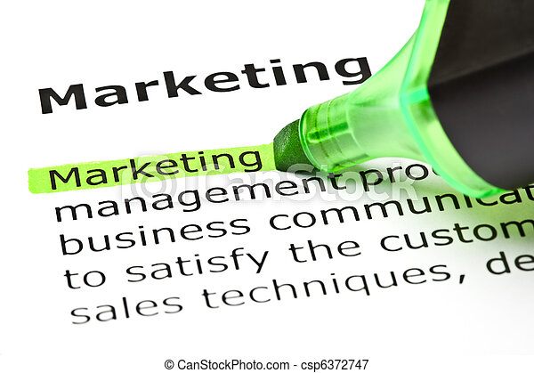 'Marketing' highlighted in green - csp6372747