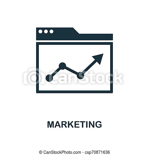 Marketing icon. Monochrome style design from business icon collection. UI. Pixel perfect simple pictogram marketing icon. Web design, apps, software, print usage. - csp70871636