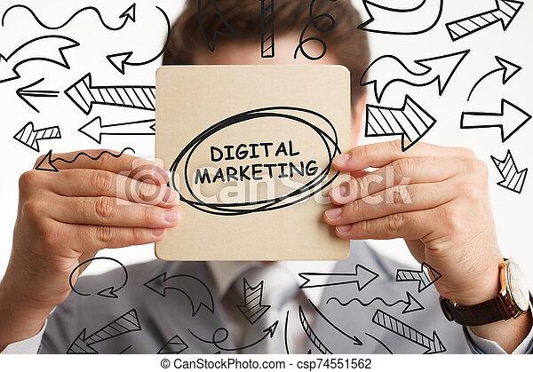 marketing internet, hombre de negocios, tecnología, red, exposiciones, concept., planificación, strategy., joven, empresa / negocio, word: - csp74551562
