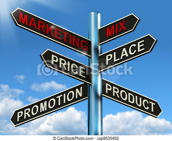 Marketing Mix Signpost With Place Price Product And Promotion - csp9530452