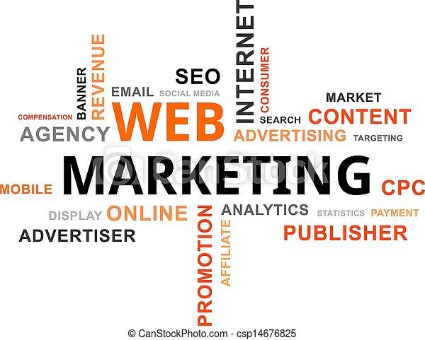 marketing, -, nuvem, palavra, teia - csp14676825