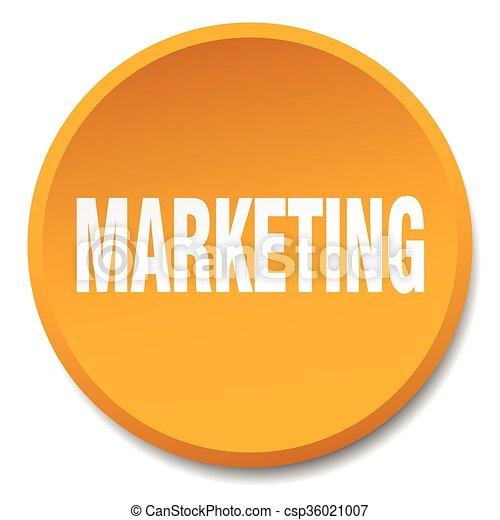 marketing orange round flat isolated push button - csp36021007