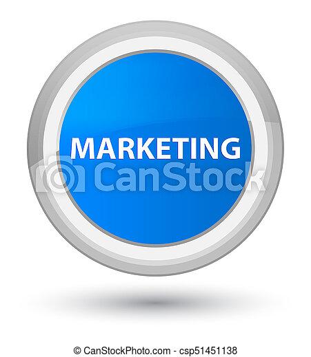 Marketing prime cyan blue round button - csp51451138