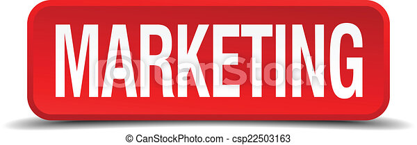 Marketing red 3d square button isolated on white - csp22503163