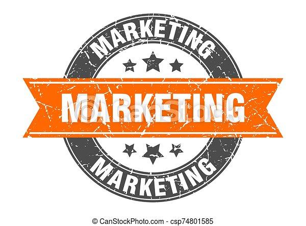 marketing round stamp with orange ribbon. marketing - csp74801585