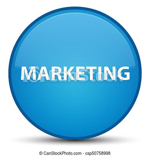 Marketing special cyan blue round button - csp50758998