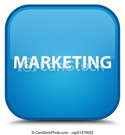 Marketing special cyan blue square button - csp51479552
