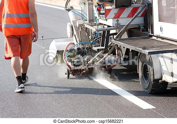Marking machine during roadworks - csp15682221