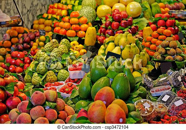 marknaden, la, boqueria, barcelona, fokus., berömd, selektiv, värld, spain., fruits. - csp3472104