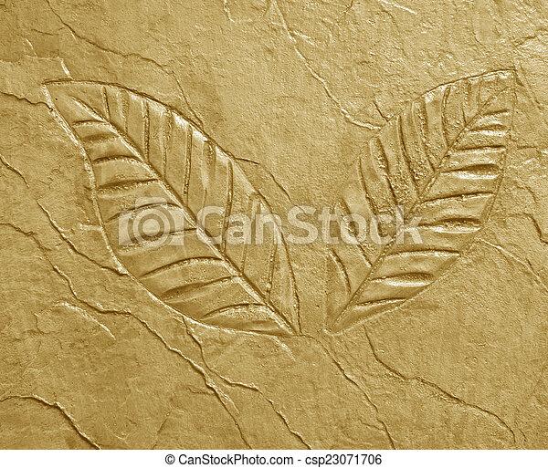marks of leaf on concrete - csp23071706