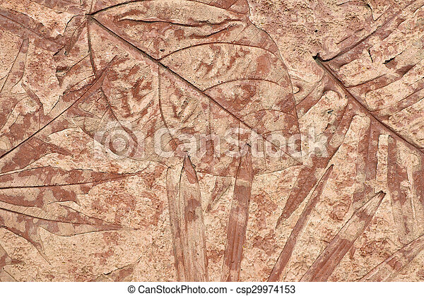 marks of leaf on the concrete background - csp29974153