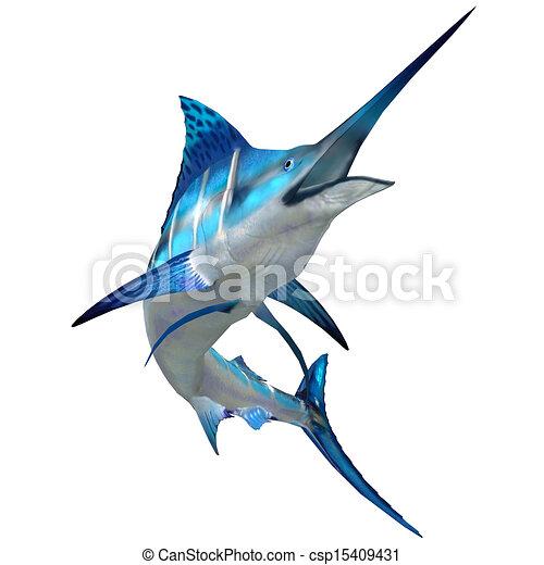 Marlin Fish on White - csp15409431