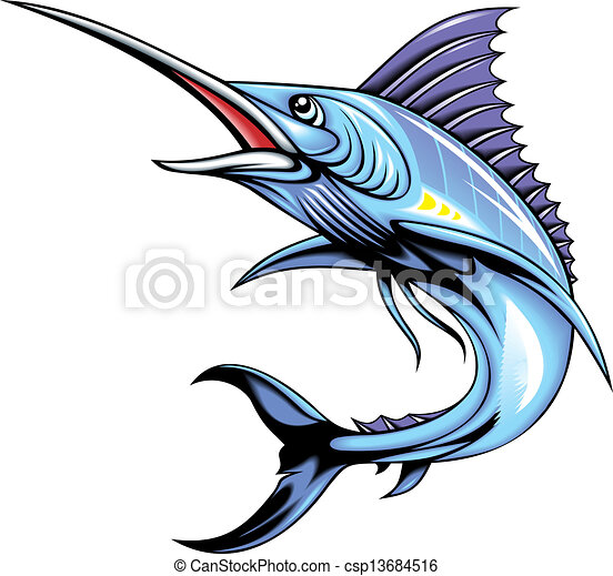 illustrated marlin fish isolated on white background vector clip art rh canstockphoto com Fish Skeleton Clip Art Tuna Fish Clip Art