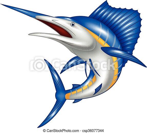 Ilustración de caricaturas de pez marlín - csp36077344