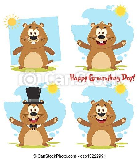 Marmot Cartoon Mascot Character 3. Collection Set - csp45222991