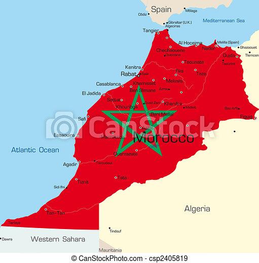 Cartina Marocco Politica.Colorare Colorato Astratto Marocco Bandiera Mappa Nazionale Paese Canstock