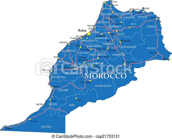 Cartina Marocco Politica.Marocco Mappa Dettagliato Mappa Principale Regioni Altamente Marocco Vettore Citta Amministrativo Roads Canstock
