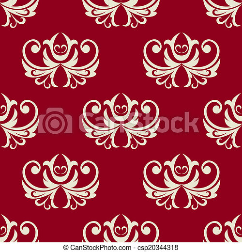 Maroon And White Seamless Floral Pattern
