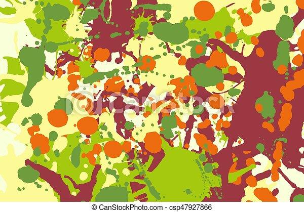 Maroon orange yellow green ink splashes background - csp47927866