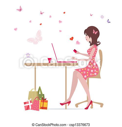 marques, girl, achats, ordinateur portable - csp13376673