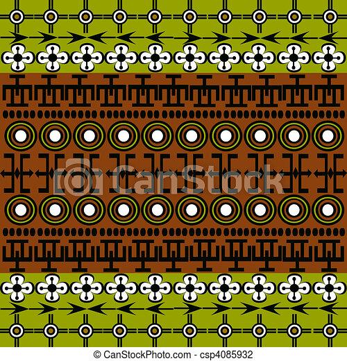 Simbolos etnicos africanos con fondo verde y marrón - csp4085932