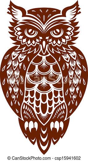 marrón, búho - csp15941602