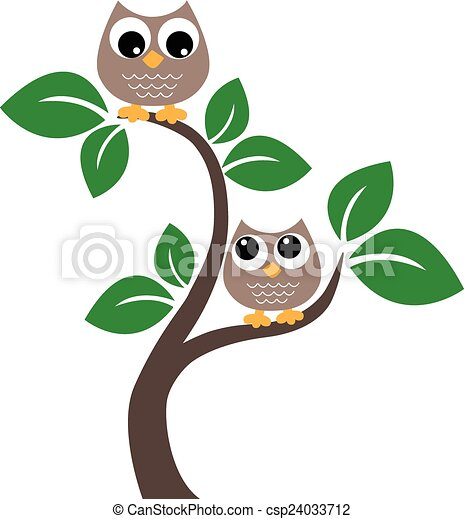 Dos lechuzas marrones en un árbol - csp24033712