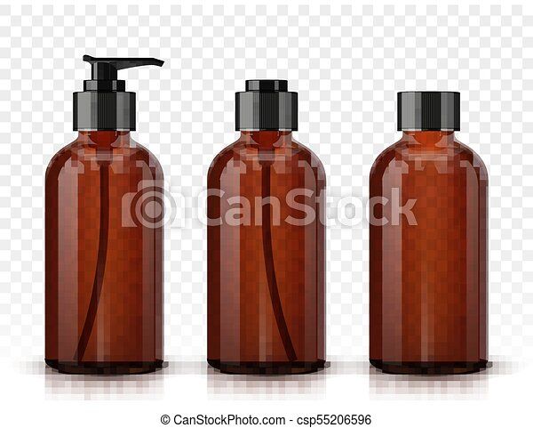 Botellas cosméticas marrones aisladas en el fondo transparente - csp55206596